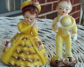 Little Boy and Girl Yellow Figurine Set Made in Japan