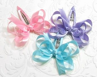 Satin Bow Barrettes, Set of 3 Satin Hair Bows, Extra Large Snap Clips, 2.5 Inch Double Satin Bows for Girls, 113 colors, Dainty Bow, Girly