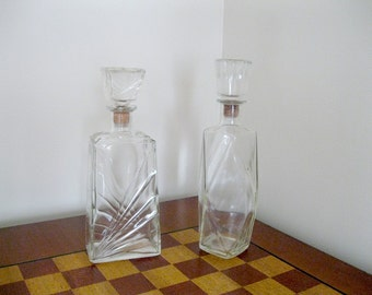Beautiful Old Heavy Clear Glass Decanters / Vintage Barware