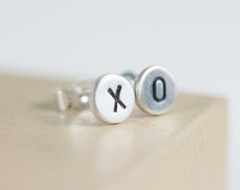 Tiny studs - posts - earrings - sterling silver - xo - stamped - etsymetal team