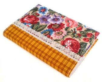 Fabric Journal Cover - Country Roses - A6 Notebook, Diary -  Mustard Checks Red Pink Flowers With Lace