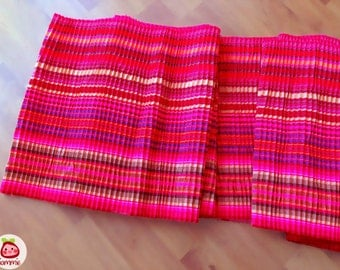 Hmong Fabric, Pleated, pleat, hmong textile, Lisu Fabric, crafting, hill tribe, embroidered, skirt, pink, red, bright, yellow, green, stripe