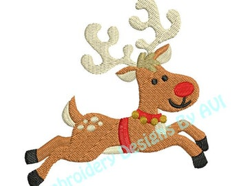 Christmas Reindeer Deer Flying Machine Embroidery Designs 4x4 & 5x7 Instant Download Sale