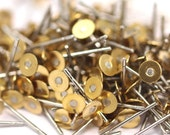 Stainless Steel Post, 100 Stainless Steel Earring Posts With Raw Brass 4mm Flat Pad, Ear Studs A0425