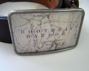 Boothbay Harbor Maine belt buckle- gift boxed