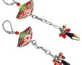 Chinese cloisonne enamel red fan black crystal oxidized sterling silver earrings