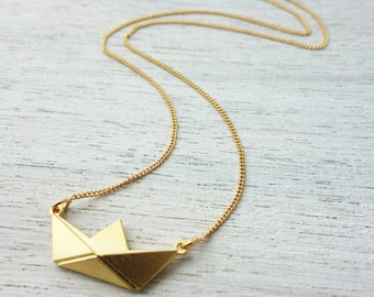 Long Paper Boat Necklace , ocean inspiration, nautical theme