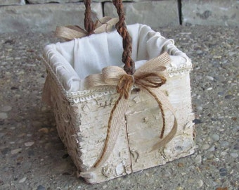 Square Rustic Birch Flower Girl Basket for your Wedding