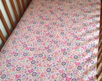 Pink Floral toddler sheet with elastic all around