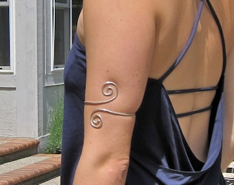 Sterling  Arm Band, Upper Arm Cuff, Recycled Sterling Bracelet, Hammered Sterling Band