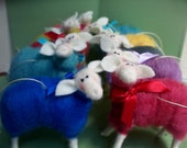 Christmas Sheep of Many Colors of Felted Wool