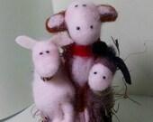 NEW!  Barnyard Trio in Wagon Felted Wool Ornament