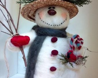 """Pretty Pockets Felted Wool Snowlady - 10"""""""
