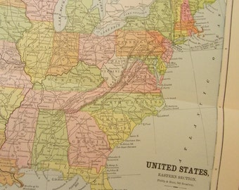 1883 Map Eastern United States - Vintage Antique Map Great for Framing 100 Years Old