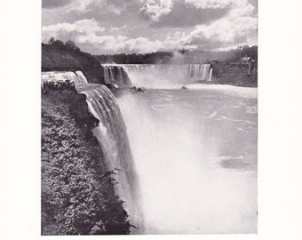 1909 Landscape Photograph - Niagara Falls - Vintage Antique Art Print History Geography Great for Framing 100 Years Old
