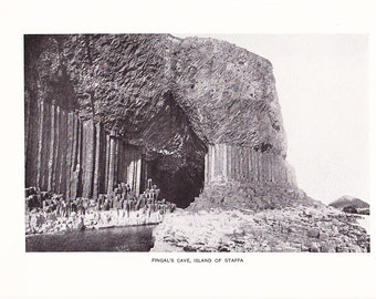 1903 Landscape Photograph - Fingals Cave Staffa Island - Vintage Antique Art Print History Geography Great for Framing 100 Years Old
