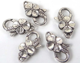 25x14mm Large Silver Pewter Flower Lobster Claw Clasps (5)  Lead-Free (p181)