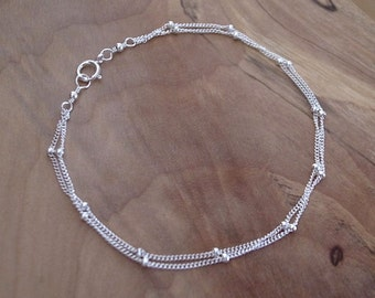 Sterling Silver Double Chain Bracelet, Silver Satellite Chain Bracelet, Silver Beaded Chain Bracelet, Silver Double Satellite Chain Bracelet