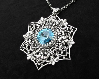Winterborn II - Aquamarine Necklace, Swarovski Crystal, Snowflake Necklace, Silver Snowflake Pendant, Frozen Necklace, Winter Jewelry
