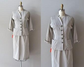 Bedford Cord suit • vintage 1950s suit • fitted 50s suit