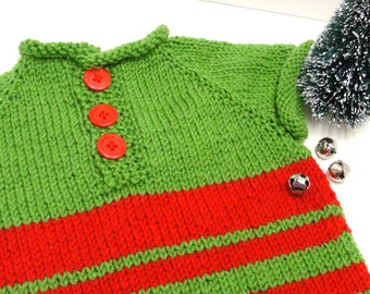 """Christmas baby sweater- ''Elf"""" short sleeves, hand knit, red and green, 3-button pullover  6-12 month size"""