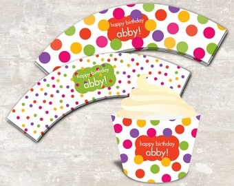 PRINT & SHIP Polka Dot Birthday Party Cupcake Wraps (set of 12) >> personalized and shipped to you | Paper and Cake