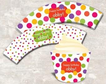 PRINT & SHIP Polka Dot Birthday Party Cupcake Wraps (set of 12)