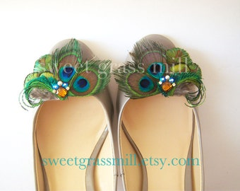 Peacock Feather Shoe Clips - MAJESTE Shoe Clips - Crystals & Gems