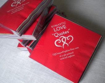 Printed napkins Love Quote Napkins Boxed set of 16 printed napkins NEW