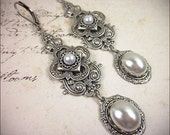 Medieval, Renaissance, Tudor, White Pearl, Medieval Jewelry, Queen, Wedding, Garb, Bridesmaid Earrings, SCA, Your Choice of Color & Finish