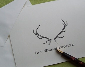 Personalized Monogrammed Antlers Stag, Elk Deer Note Cards  Stationery Woodland Forest Lodge Mountain Ivory or Kraft Set of 10 Rustic