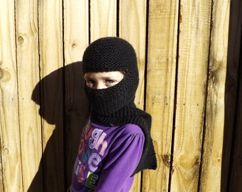 Kid's Balaklava and Scarf Piece Black