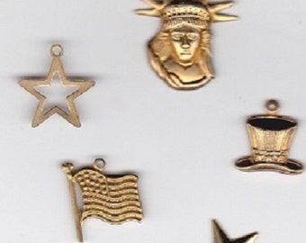 Brass Patriotic Charms Set | Americana | Jewelry Charms | 4th of July | Patriotic