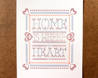 SALE - Letterpress Art Print Home Is Where the Heart Is
