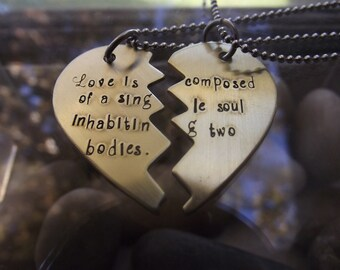 Couples Necklaces in Brass, with custom wording or quote of your choice, Best friends Necklaces in Brass