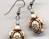 Turtle Earrings, Magnesite Earrings, White Turtle Earrings, Surgical Steel Earrings, Handmade Jewelry by AnnaArt72
