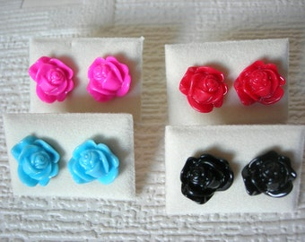Hypo-allergenic Vintage Style Rose Flower Surgical Steel Stud Earrings Black Blue Pink Red
