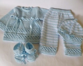 Baby  Outfit, Knitted  Baby Set,  Take Home  Newborn  Set,  Baby Boy  Ensemble, Reduced Price Newborn Boy  Suit.