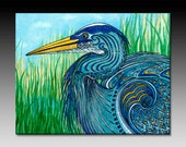 Great Blue Heron Ceramic Tile Wall Art