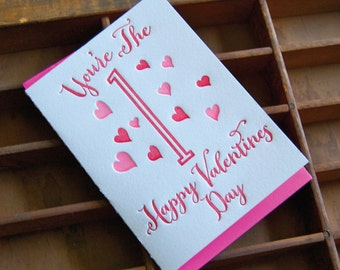 You're the 1 - letterpress, folded greeting card, single
