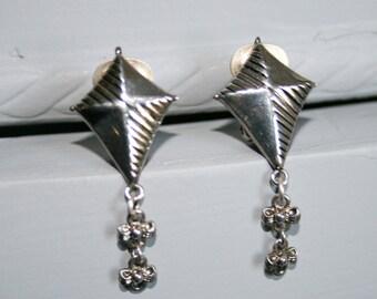 Silver Clip On Kite Earrings