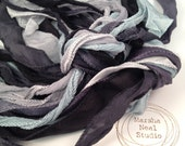 Hand Painted Silk Ribbons Blue Black Gray Storm Clouds Palette Silky and or Fairy Ribbons