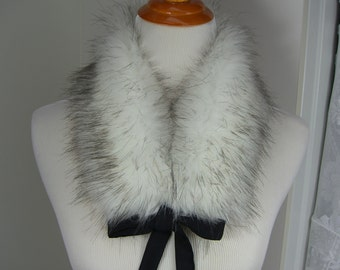 Faux Fur COLLAR, Light Husky Fur Scarflette with satin ribbon ties, Women's Fur Neckwarmer, Fur Collar