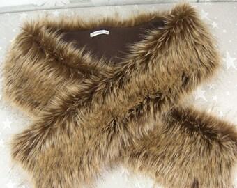 Faux Fur Scarf, Desert Fox Gold/Brown Faux Fur Scarf, Women's Long Fur Scarf