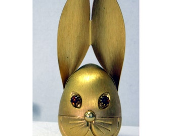Napier Metal Gold Tone Bunny Rabbit Head Bank Vintage Amber Eyes