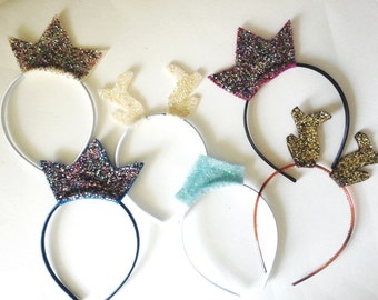 Glitter Crowns and Antlers Headband Pack, Frozen Birthday Party, Photo Booth Props