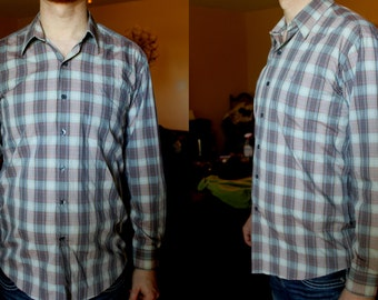 BALENCIAGA Shirt Button Up Plaid Mens Dress shirt Vintage