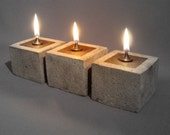 SET OF THREE - Rustic Cowboy Zen Oil Lamps -  One of a kind Concrete Sculptures - Cast Stone Oil Lamp - Metal and Stone