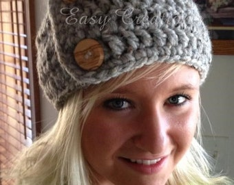 CROCHET PATTERN Headband Super Chunky Button Child Teen Adult ear warmer warm winter skill level easy