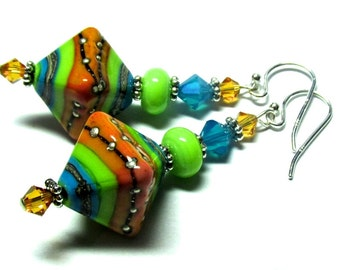 Colorful Earrings, Handmade Earrings, Lampwork Earrings, Glass Earrings, Artisan Earrings, Handmade Jewelry, Lampwork Jewelry